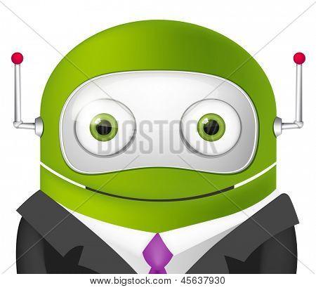 Avatar Cartoon Character Cute Robot. Businessmen Cross Hands. Vector EPS 10.