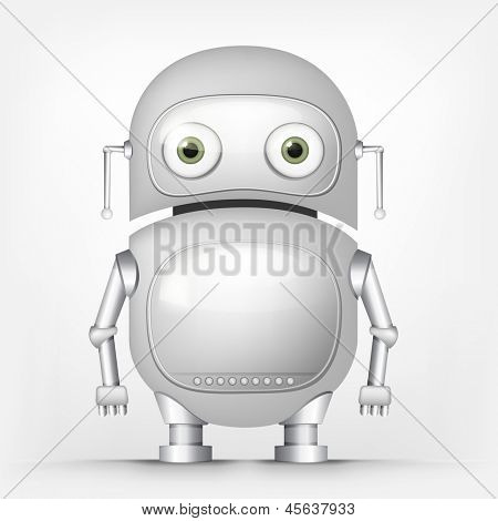 Cartoon Character Cute Robot Isolated on Grey Gradient Background. Vector EPS 10.