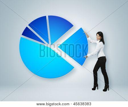 Finanzbericht & Statistik. Geschäftsfrau setzen Sektor des Kreisdiagramms.