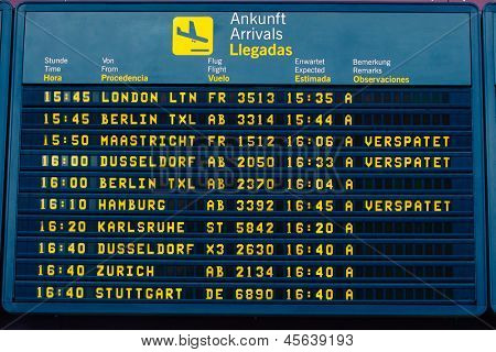 arrival information flight board at the airport