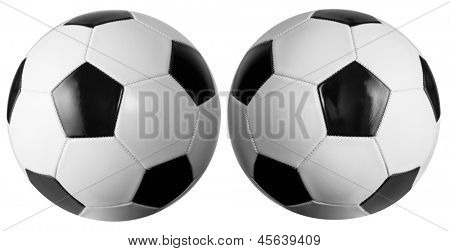Set of two soccerballs isolated with clipping path included. Lighting is slightly different for each ball.