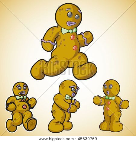 Gingerbread man in different poses. This is 2 of 2 in a series.