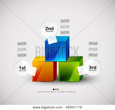 Colorful cubes modern design template, infographics