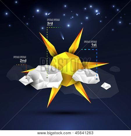 Origami sun and clouds design. Can be used as a background, web design, infographics, banner, weather icon, nature concept