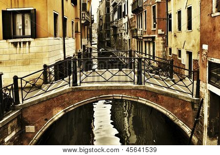 view of a charming place in a minor canal, or rio, in Venice, Italy