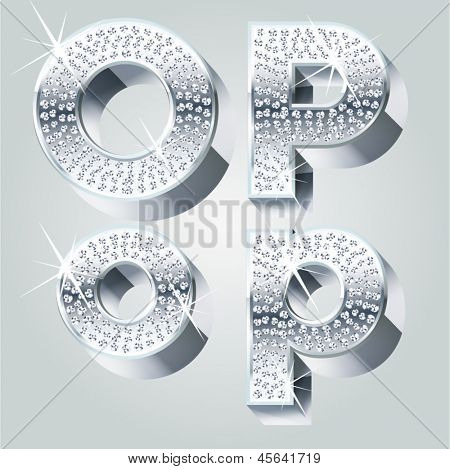 Chrome symbols inlaid of diamond crumbs. Letters O P