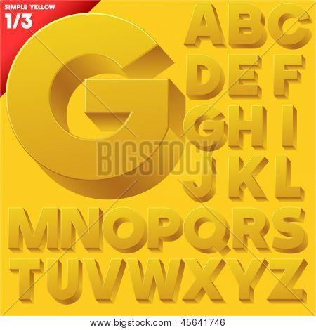 Vector alphabet of simple 3d letters. Sans bold. Uppercases Yellow