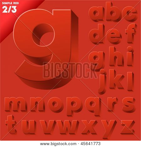 Vector alphabet of simple 3d letters. Sans bold. Small cases Red