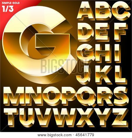 Vector alphabet of simple 3d letters. Sans bold. Upper cases Black