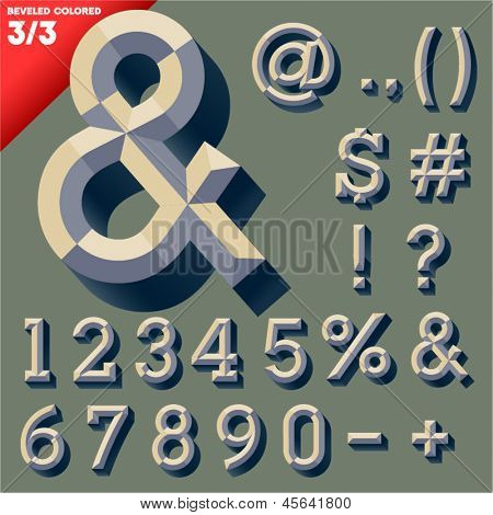 Vector illustration of old school beveled alphabet. Simple colored version. Symbols