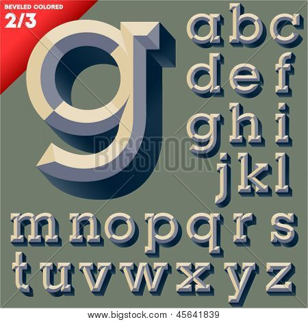 Vector illustration of old school beveled alphabet. Simple colored version. Small case