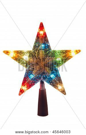 Illuminated Golden Christmas Star, Topper To Be Placed In The Top Of The Tree