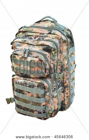 Camouflage Backpack Isolated On White