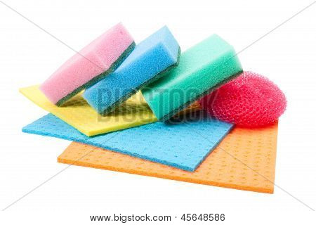 Dish Washing Sponge, Dishcloth And Scrub Pad, Isolated