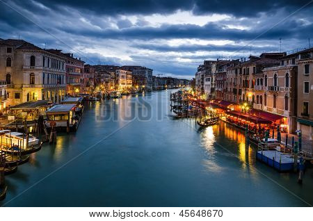 Grand Canal Of Venice By Night, Italy