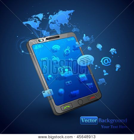 illustration of application coming out of mobile phone on abstract vector background