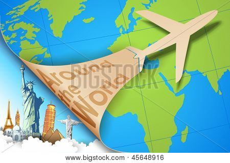 illustration of airplane flying in travel background with monument