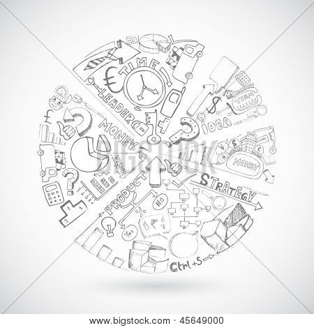 illustration of sketch of pie chart with business doodle