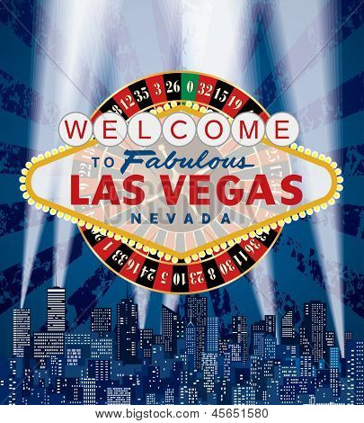 raster version of my vector illustration of Las Vegas sign with roulette over the city