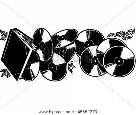 The Gift Of Vinyl Records - Retro Clip Art Illustration Stock ...