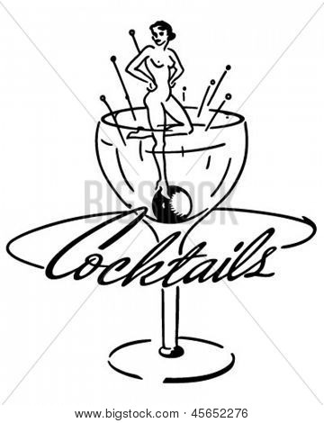 Cocktails Banner - Retro Clip Art Illustration