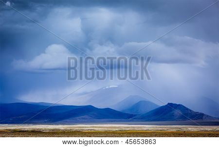 Gathering storm in Himalayas mountains. Ladakh, India