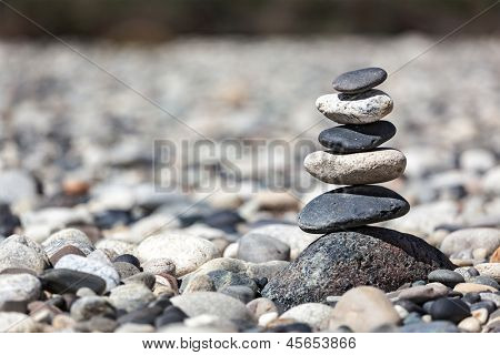 Zen balanced stones stack close up