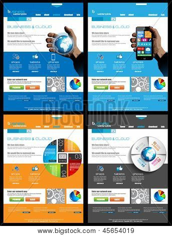 Website collection of 4 templates for corporate business and cloud purposes. Ideal for company blogs with high class presence.