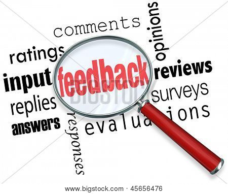 The words feedback, ratings, input, replies, answers, responses, comments, opinions, reviews, surveys and evaluation under a magnifying glass background