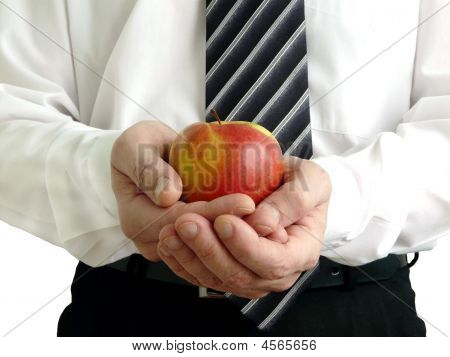 Man Holding Apple In Hand