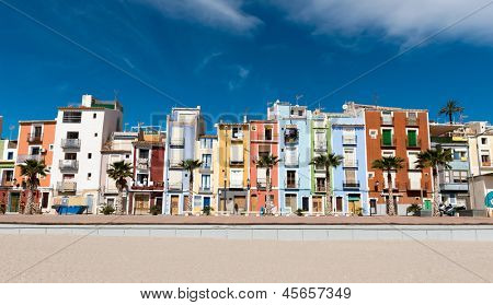 Colorful coastal village in Spain, Alicante, Villajoyosa, with houses painted in bright colors
