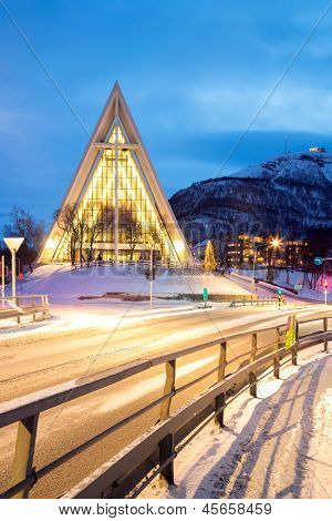 Tromso Arctic Cathedral Church in Norway at dusk twilight