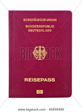 new german biometric passport isolated on white background