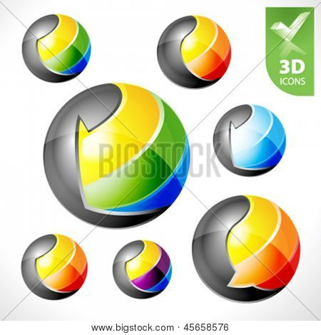 Set of vector design elements 19. 3D spheres