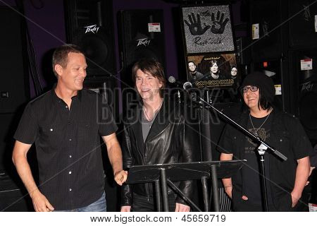 LOS ANGELES - MAY 7:  Mike Malinin, John Rzeznik, Robby Takac at the Goo Goo Dolls RockWalk Induction at the Paley Center For Media on May 7, 2013 in Beverly Hills, CA