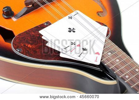 Color photo of mandolin and card