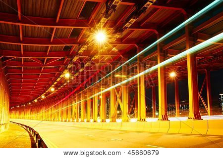 tunnel with car light