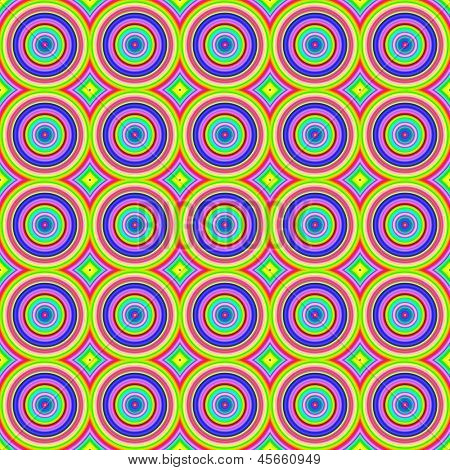 Bright colorful abstract circle shapes seamless pattern.