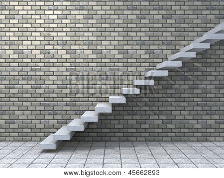 Concept or conceptual white stone or concrete stair or steps near a brick wall background with wood,metaphor to architecture,success,climb,business,staircase,stairway,rise,achievement,growth or future