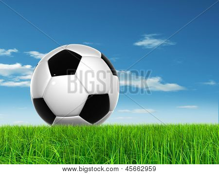 Concept or conceptual 3D soccer ball in fresh green summer or spring field grass with a blue sky background, metaphor to sport,goal,competition,play,team,leisure,fun,stadium,meadow,activity soccerball