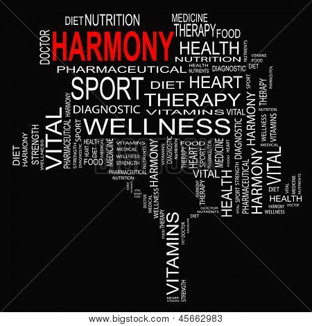 High resolution concept or conceptual white text wordcloud or tagcloud as a tree isolated on white background as metaphor for health,nutrition,diet,wellness,body,energy,medical,sport,heart or science