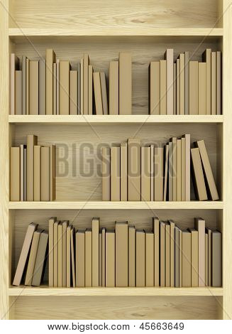 bookcase with books, 3d render