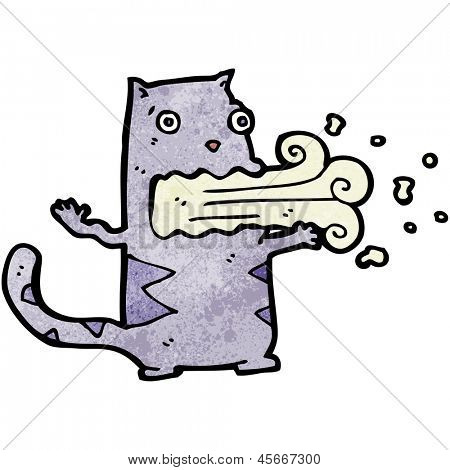 cartoon belching cat