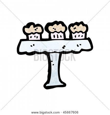 cartoon cakes on cakestand
