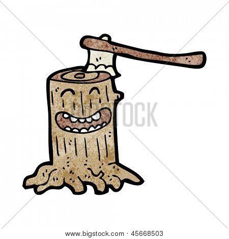 cartoon tree stump with axe