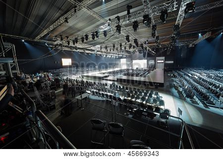 MOSCOW - APR 4: Hall with podium and rows of chairs in Gostiny Dvor during Volvo Fashion Week, April 4, 2012, Moscow, Russia. Gostiny Dvor is one of most mesmerizing historical buildings in Moscow.