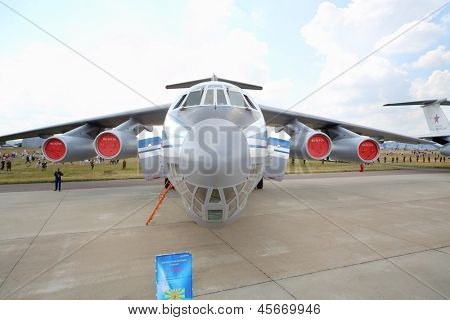 ZHUKOVSKY - AUGUST 12: Military transport aircraft Il-76MD on airshow devoted to 100 anniversary of Russian Air Forces on August 12, 2012 in Zhukovsky, Moscow region, Russia.