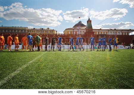 MOSCOW - MAY 26: Greeting football teams on VIII Forum Ready for Labor and Defense on May 26, 2012 in Red Square, Moscow, Russia.