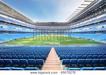 MADRID - MARCH 8: Empty Santiago Bernabeu Stadium - arena of soccer club Real Madrid, on March 8 2012 in Madrid, Spain. Spanish football club Real Madrid created March 6, 1902.
