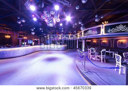 MOSCOW - SEP 21: The interior of one of the rooms of the nightclub Base with mirror balls  on September 21, 2012 in Moscow, Russia.